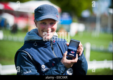 Badminton, UK. 09th May, 2014. Zara Tindall [nee Phillips] is printed with the British Equestrian Federation Medal - Stock Photo