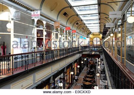 Adelaide Arcade, shopping arcade at Rundle Mall in the city centre, Adelaide, South Australia, SA, Australia - Stock Photo