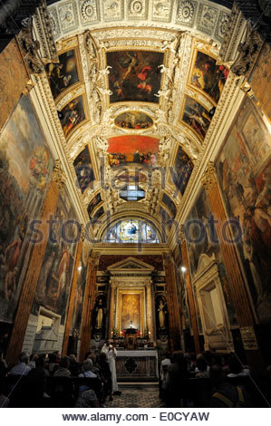 Ceiling in the interior of the Santa Maria sopra Minerva basilica, a Christian church in the old city centre, Rome, - Stock Photo