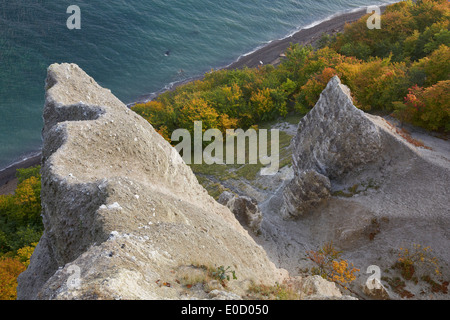 View from Victoria's View onto chalk cliffs in autumn, Jasmund National Park, Baltic coast, Ruegen island, Mecklenburg - Stock Photo
