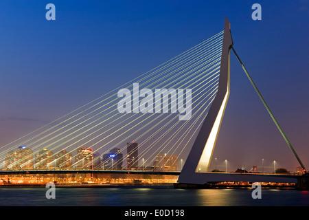Erasmusbrug (Erasmus Bridge) and skyline at twilight, Rotterdam, Netherlands - Stock Photo