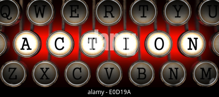 Action on Old Typewriter's Keys. - Stock Photo