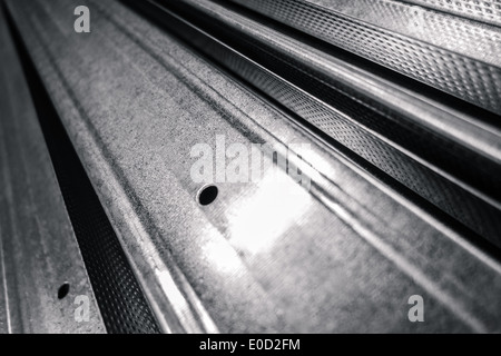 some steel or aluminum rods with a shallow depth of field - Stock Photo