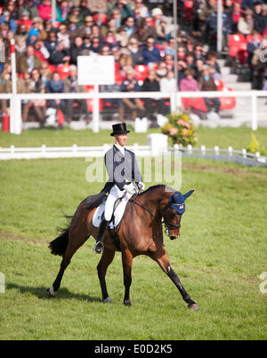 Badminton, UK. 09th May, 2014. Clark Montgomery [USA] riding Loughan Glen moves into first place after the dressage - Stock Photo