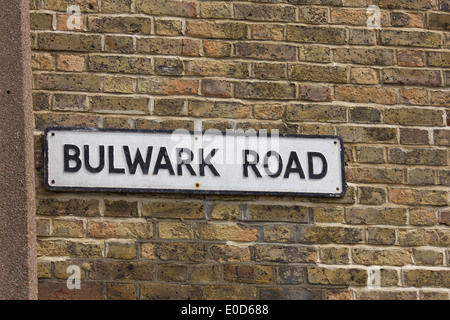 Street name Bulwark Road sign against a brick background - Stock Photo