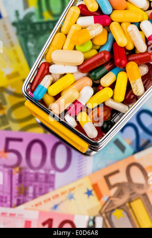 Tablets, shopping carts, euronotes, symbolic photo for Pharmazeutika, health insurance schemes, costs in the health - Stock Photo