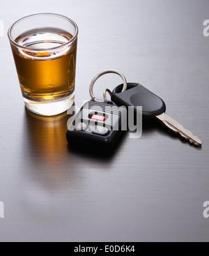 Whiskey and car keys - Stock Photo