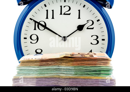 An alarm clock and bank notes, symbolic photo for labour costs, labour cost, time work, Ein Wecker und Geldscheine, Symbolfoto f
