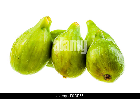 ripe green figs isolated over a white background - Stock Photo