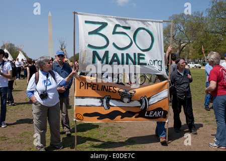 Climate activists rallying against Keystone XL Pipeline - Washington, DC USA - Stock Photo