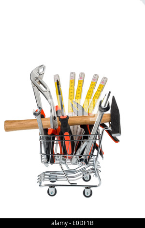 Different tools of a craftsman lie side by side on white background, Verschiedene Werkzeuge eines Handwerkers liegen - Stock Photo