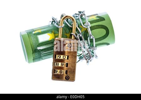 Several 100 euronotes with chain and padlock., Mehrere 100 Euroscheine mit Kette und Vorhaengeschloss. - Stock Photo