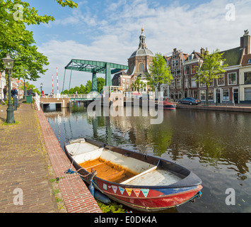 MARE BRUG OR BRIDGE AND THE MAREKERK OR CHURCH IN SPRINGTIME ON OUDE VEST ROAD LEIDEN HOLLAND - Stock Photo
