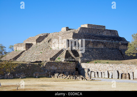 Dancers building Edifice M Zapotec ruins Monte Alban Oaxaca Province Mexico - Stock Photo