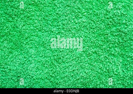 Green Cotton Towel Texture Closeup - Stock Photo