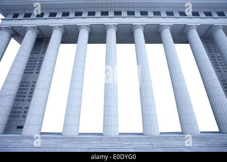Pillars of mansion building of Shanghai bank - Stock Photo