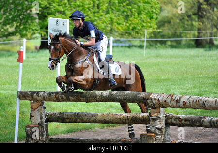 Badminton, UK, 10th May, 2014. Tim Price (NZL) riding Ringwood Sky Boy during the Cross Country phase of the Badminton - Stock Photo