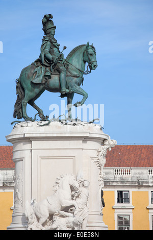 Equestrian bronze statue of King Jose I from 1775 on the Commerce Square in Lisbon, Portugal. - Stock Photo