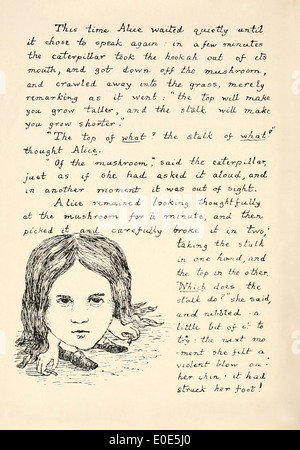 Page from the original manuscript for 'Alice in Wonderland' handwritten and illustrated in 1864 by Lewis Carroll - Stock Photo
