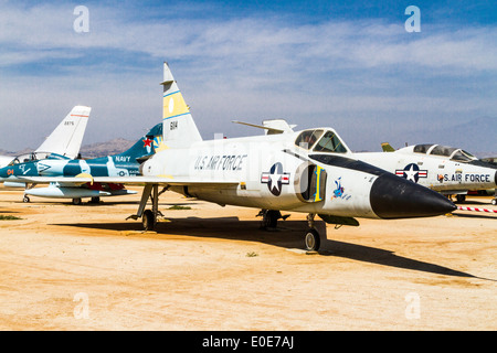 A Convair F-102A Delta Dagger at the March Field Air Museum in Riverside California - Stock Photo