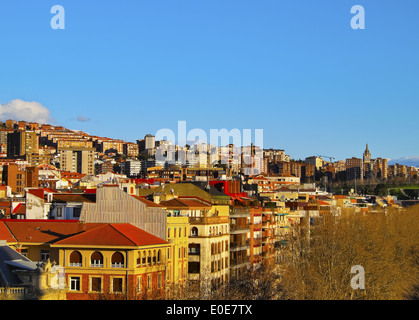 Skyline of Bilbao, Biscay, Basque Country, Spain - Stock Photo