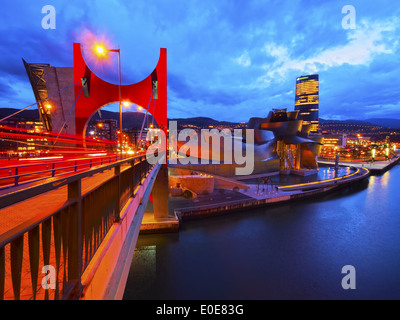 Night view of La Salve Bridge and The Guggenheim Museum in Bilbao, Biscay, Basque Country, Spain - Stock Photo