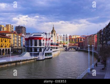 Mercado de la Ribera - Riverside Market and the Nervion River in Bilbao, Biscay, Basque Country, Spain - Stock Photo