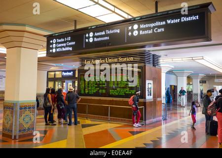 Los Angeles California CA L.A. LA mass transit public transportation Union Station railway station railroad terminal - Stock Photo