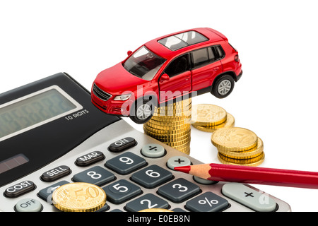 Car and pocket calculator. Rising costs by autopurchase, leasing, workshop, refuelling and assurance, Auto und Taschenrechner. - Stock Photo