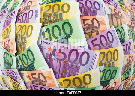 A lot of different euro of bank notes. Symbolic photo for wealth and investment, Viele verschiedene Euro Geldscheine. - Stock Photo