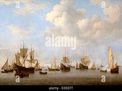 he Dutch Fleet in the Goeree Roads  1672-73 Willem van de Velde II 1633-1707 - Stock Photo