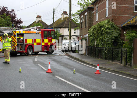 Great Stambridge, Southend On Sea, Essex, UK. 11th May 2014.  Road Traffic Collision.  A vehicle collided with a - Stock Photo