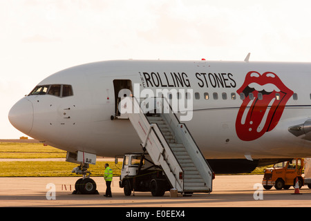 Rolling Stones private Boeing 767, parked at Manston airport, early evening, low light - Stock Photo