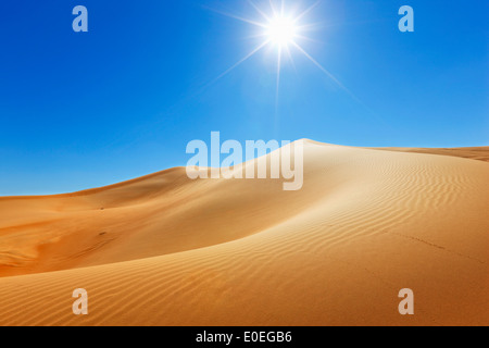 Sand dune, nature landscape with sun on the top - Stock Photo