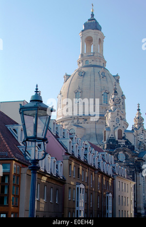 Dome of Church 'Frauenkirche' in Dresden on a sunny day - Stock Photo