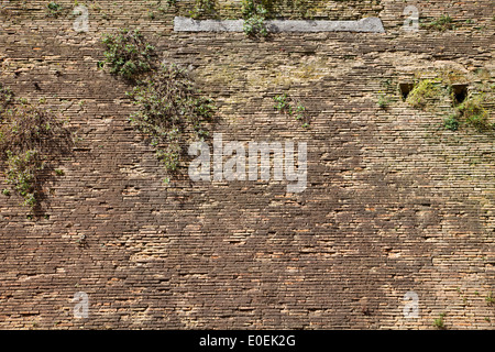 Ziegelmauer, Rom, Italien - Brick wall, Rome, Italy - Stock Photo