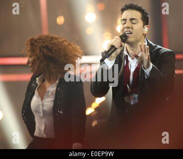 Copenhagen, Denmark. 10th May, 2014. Basim representing Denmark during the grand final of the 59th Eurovision Song - Stock Photo