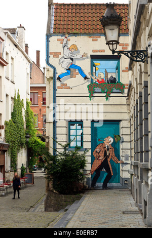 Cartoon painted on a building, Comic Strip Walk, Brussels, Belgium - Stock Photo