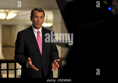 US House Minority Leader Rep. John Boehner during a television interview on the Obama healthcare plan March 193, - Stock Photo