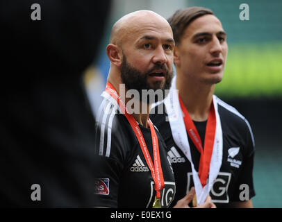 London, UK. 11th May, 2014. D J Forbes of New Zealand during the Cup final match between New Zealand and Australia - Stock Photo