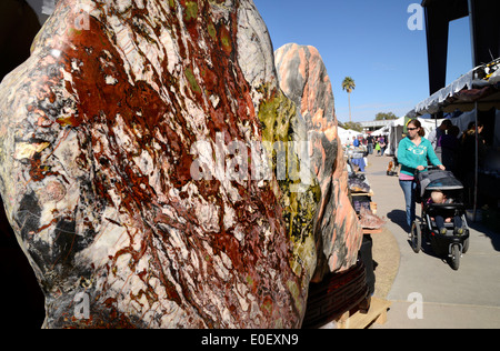 The annual Tucson Gem and Mineral Show draws vendors and buyers from around the world in Tucson, Arizona, USA. - Stock Photo