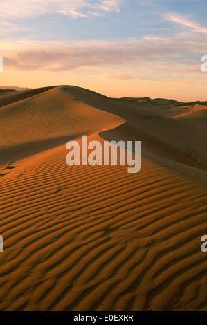 Saharan sand dunes, Erg Chebbi, Morocco - Stock Photo