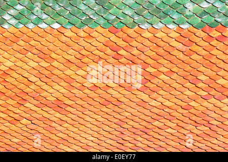 Roof tiles background tiles bright orange sunlight. - Stock Photo