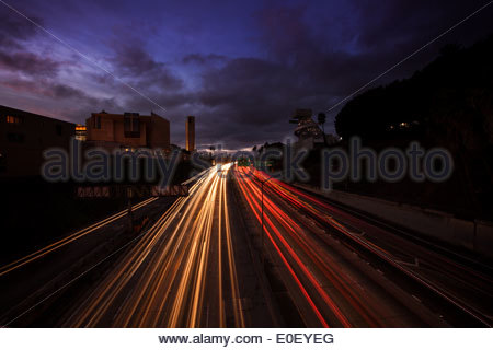 The 101 Freeway in downtown Los Angeles at dusk - Stock Photo