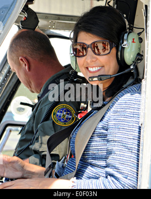 South Carolina Governor Nikki Haley in a helicopter as she tours the Savannah River nuclear site April 21, 2014 - Stock Photo