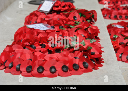 Red Poppy Wreaths As Symbol Of Remembrance Laid Down In Whitehall By
