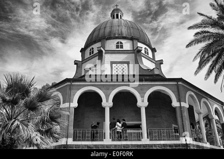 Church of the Beatitudes near Taghba, Israel in black and White - Stock Photo