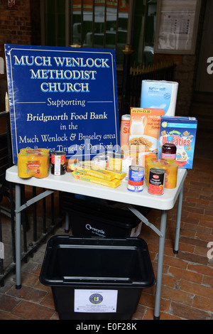 Collection for food bank, Much Wenlock, Shropshire, UK - Stock Photo