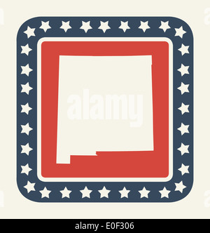 New Mexico State Button On American Flag In Flat Web Design Style Stock Photo Alamy