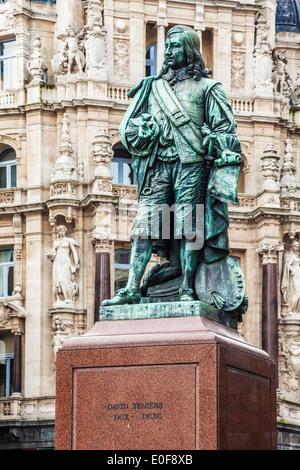 Statue of the 17th century Flemish painter David Teniers the Younger in Teniersplaats, Antwerp. - Stock Photo